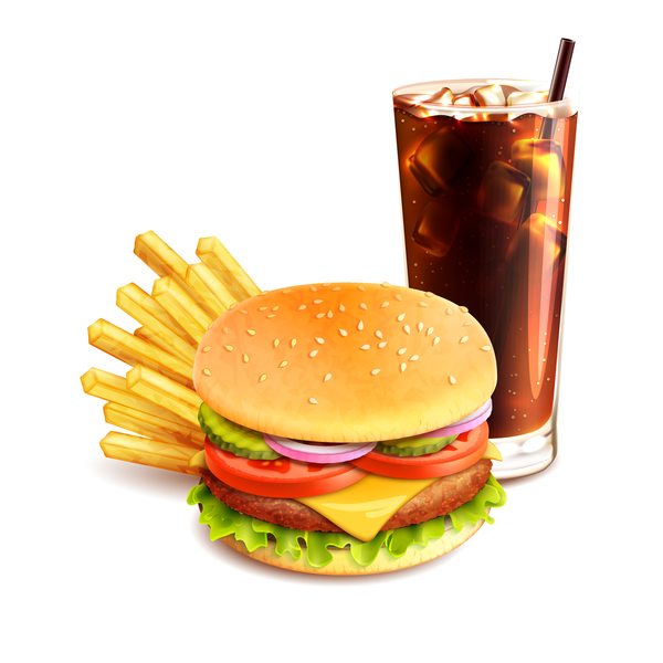 Burger and drinks vector material