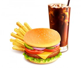 Burger and fries and drinks vector material 01