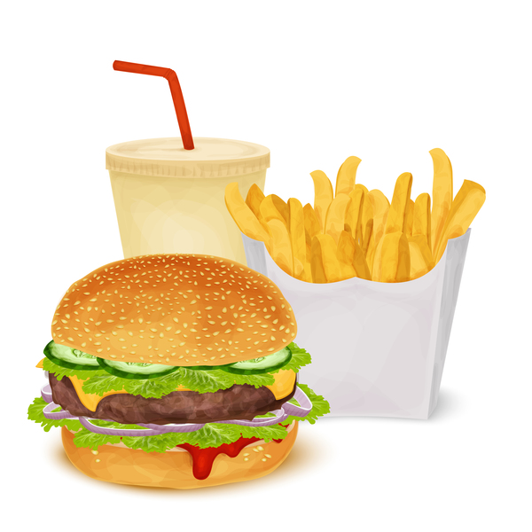 Burger and fries and drinks vector material 02