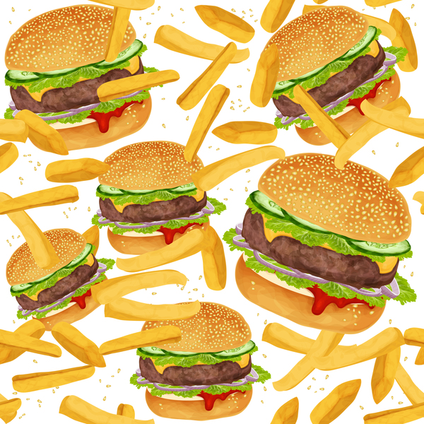 Burger and fries seamless pattern vector