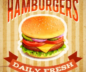 Burger poster vintage styles vector