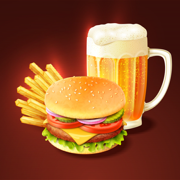 Burger with beer vector material