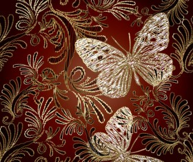Butterflies with luxury pattern vectors material