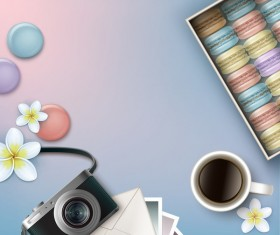 Camera and coffee background vector