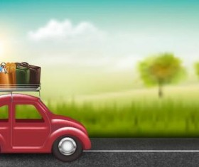 Car travel with blurs background vector