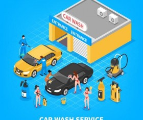 Car wash service business vector