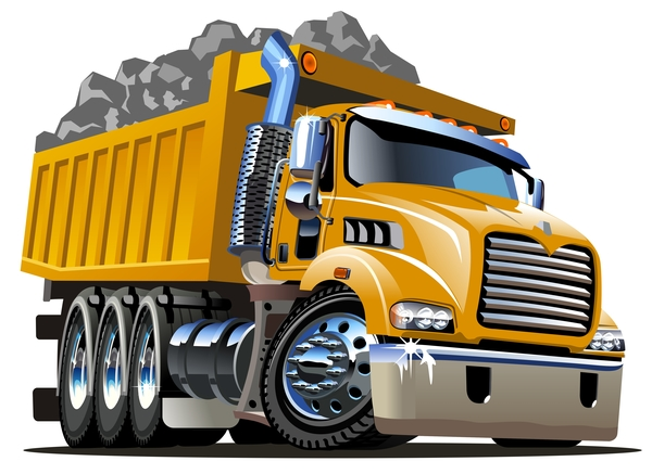 Cartoon dump truck vector 02
