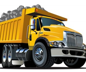 Cartoon dump truck vector 03