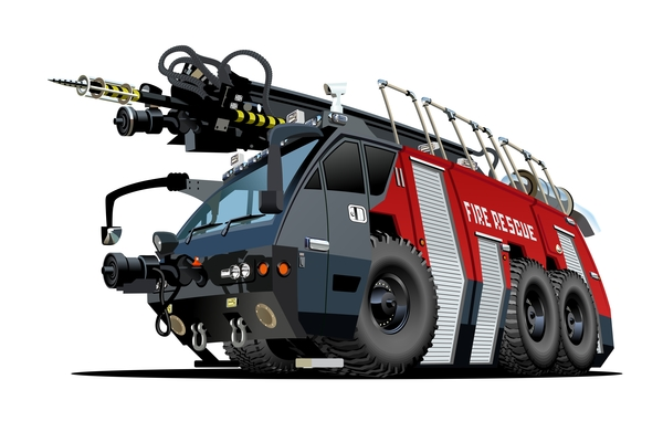 Cartoon fire truck vector 02