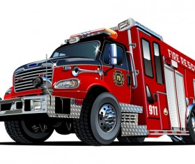 Cartoon fire truck vector 04