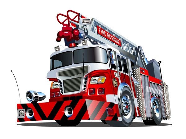 Cartoon fire truck vector 05