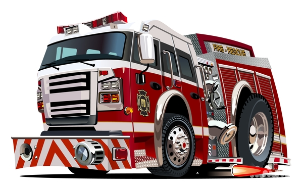 Cartoon fire truck vector 06