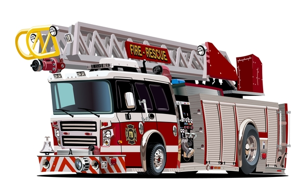 Cartoon fire truck vector 07