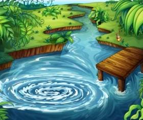 Cartoon forest landscape vector 01