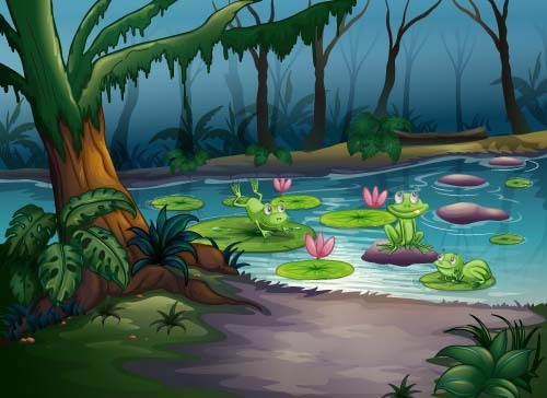 Cartoon forest landscape vector 02