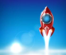 Cartoon red rocket vector