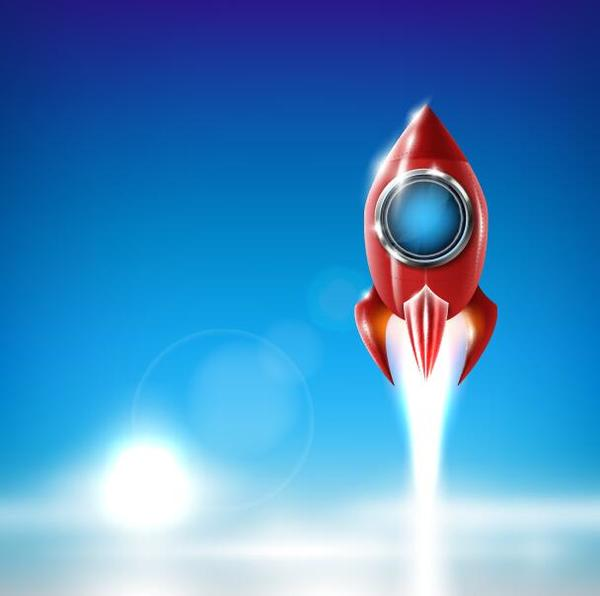 Cartoon red rocket vector