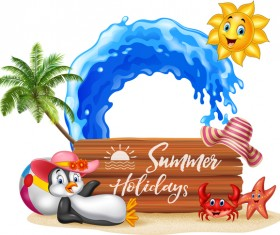 Cartoon summer holiday background with wooden plaque vector 01
