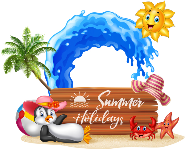 Happy Summer Holidays Background Vector: Cartoon Summer Holiday Background With Wooden Plaque
