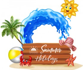 Cartoon summer holiday background with wooden plaque vector 02
