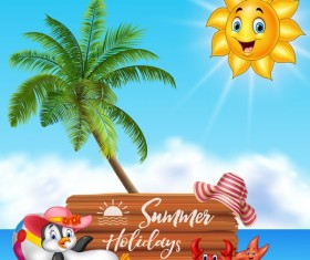 Cartoon summer holiday background with wooden plaque vector 03