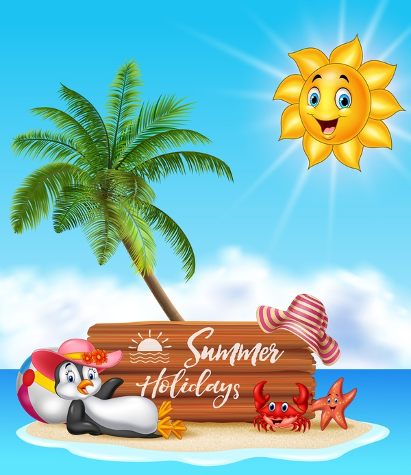 cartoon summer holiday background with wooden plaque