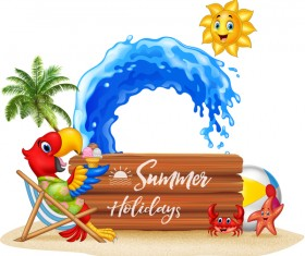 Cartoon summer holiday background with wooden plaque vector 04