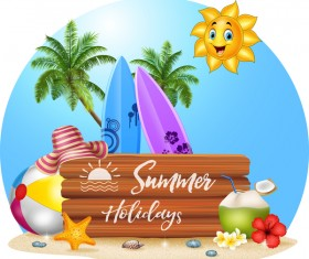 Cartoon summer holiday background with wooden plaque vector 05