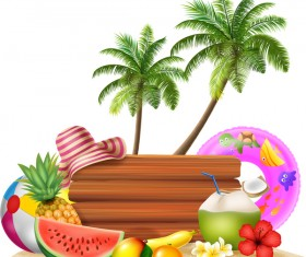 Cartoon summer holiday background with wooden plaque vector 06