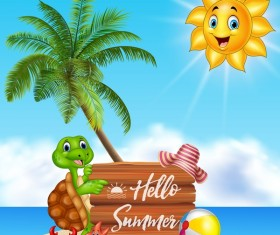 Cartoon summer holiday background with wooden plaque vector 07