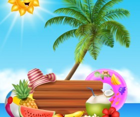 Cartoon summer holiday background with wooden plaque vector 08