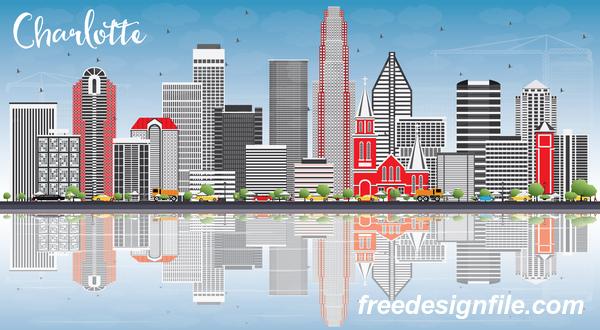 Charlotte city landscape vectors
