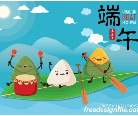 China Dragon Boat Festival Poster Template design Vector 05