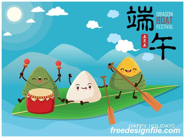 China Dragon Boat Festival Poster Template design Vector 05