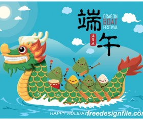 China Dragon Boat Festival Poster Template design Vector 08