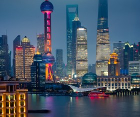 China Shanghai Bund night view Stock Photo