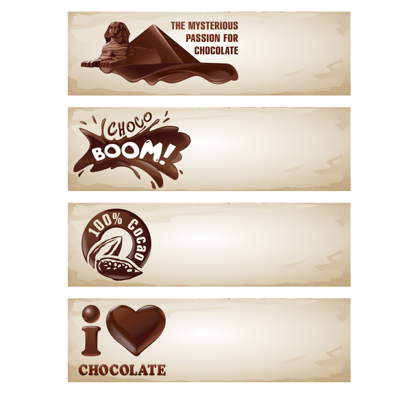 Chocolate with paper banners vector 01
