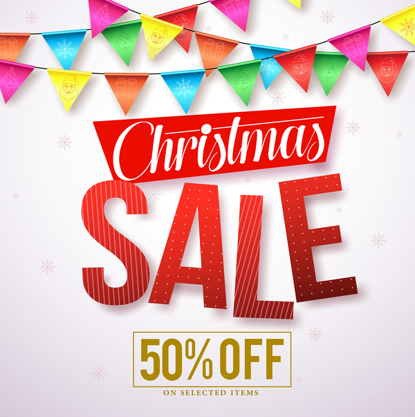 Christmas sale discount background vector material