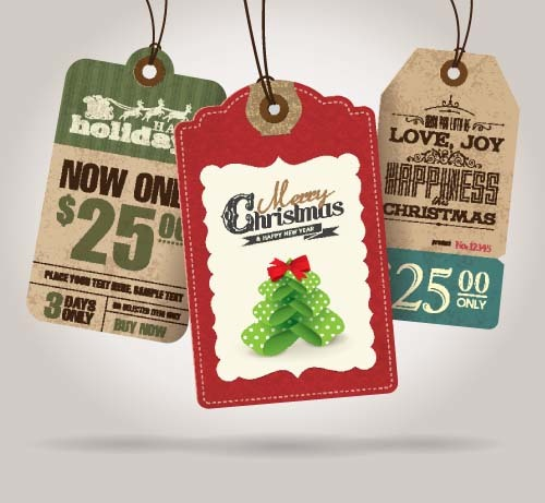 Christmas sale tag retro styles vector 01