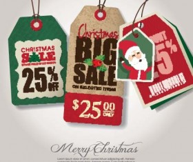 Christmas sale tag retro styles vector 02