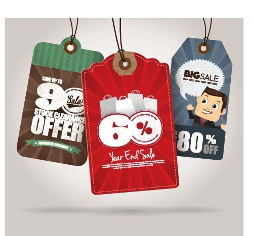 Christmas sale tag retro styles vector 04