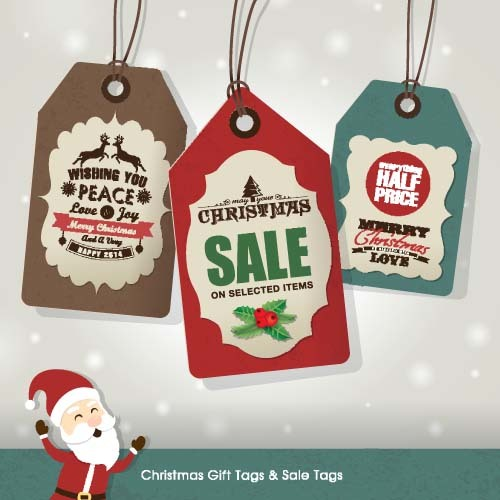 Christmas sale tag retro styles vector 05