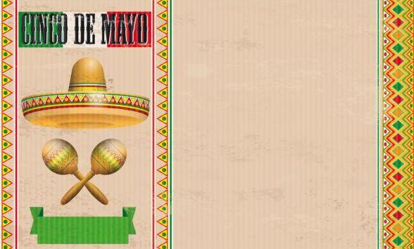 Cinco De Mayo Vintage Header Sombrero Maracas vector