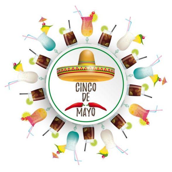 Circle Banner Coctails Cinco De Mayo Sombrero vector