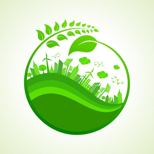 City Environment Eco Design Vector Free Download