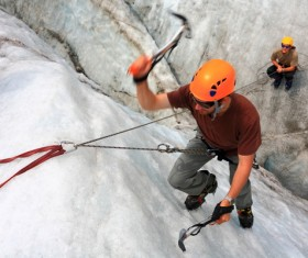 Climb the snow-capped mountains Stock Photo