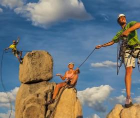 Climbing on the rocks Stock Photo