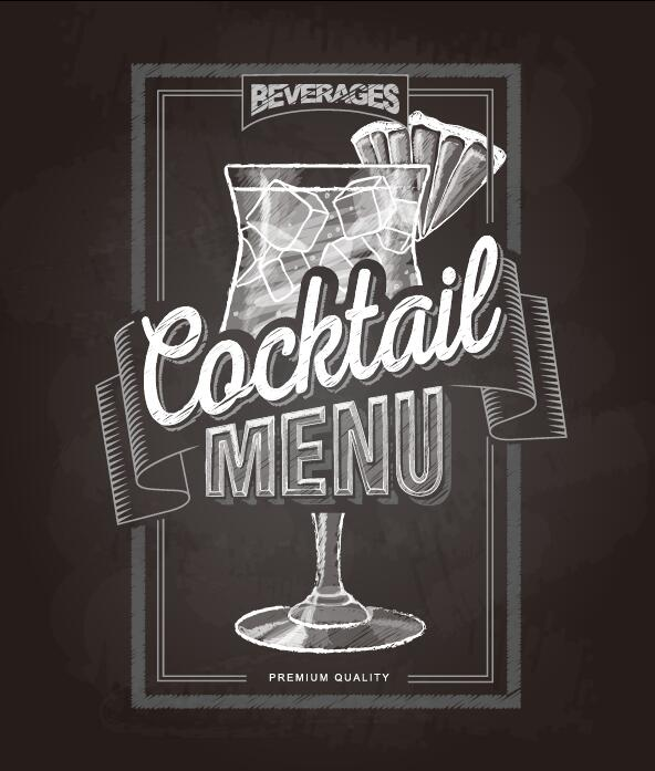 Cocktail menu cover with chalkboard and chalk drawing vector 01