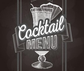 Cocktail menu cover with chalkboard and chalk drawing vector 02