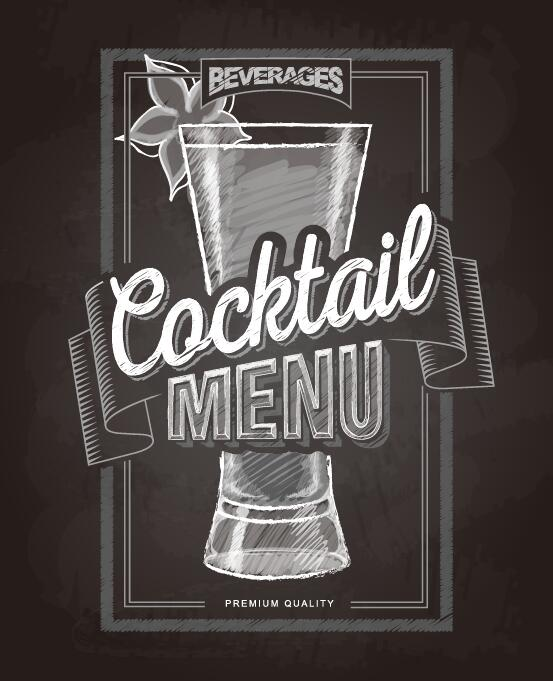 Cocktail menu cover with chalkboard and chalk drawing vector 03